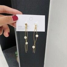 цена на S925 silver needle earrings minimalist temperament streamlined earrings wild s-shaped pearl long section of smart earrings