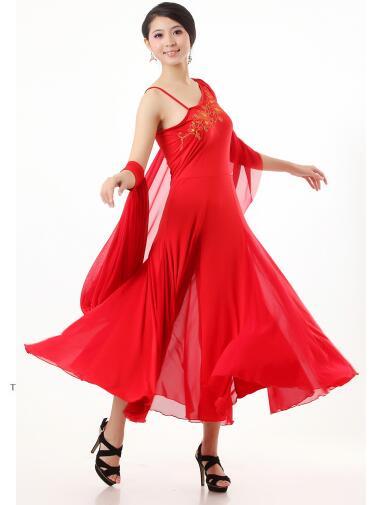Plus Size Sleeveless Pink Red Black Ballroom Dress Viennese Standard Ballroom Tango Costume Party Dress