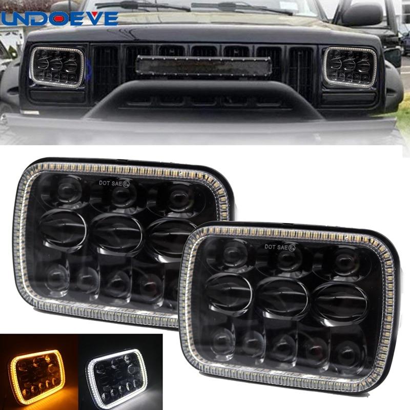 "For 1997-2010 Kenworth T300 7x6/"" inch Black LED Headlights Hi//Low Beam+DRL LH RH"