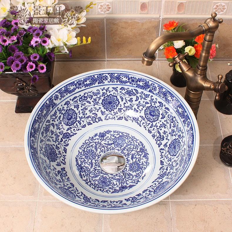 Hot Selling Jingdezhen Ceramic Wash Basin Blue and White jingdezhen ceramic lamps and lanterns of blue and white enamel thin waist drum desk lamp506
