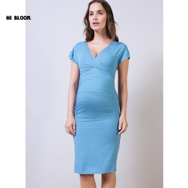 for Mom Maternity Clothes V-Neck Maternity Dresses Elegant Evening Party Dress For Pregnancy Office Lady Vestidos ...