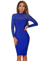 New Year Dress Party 2017 Olive Blue Black Long Sleeve Sexy Women Mesh Bandage Dress Wholesale