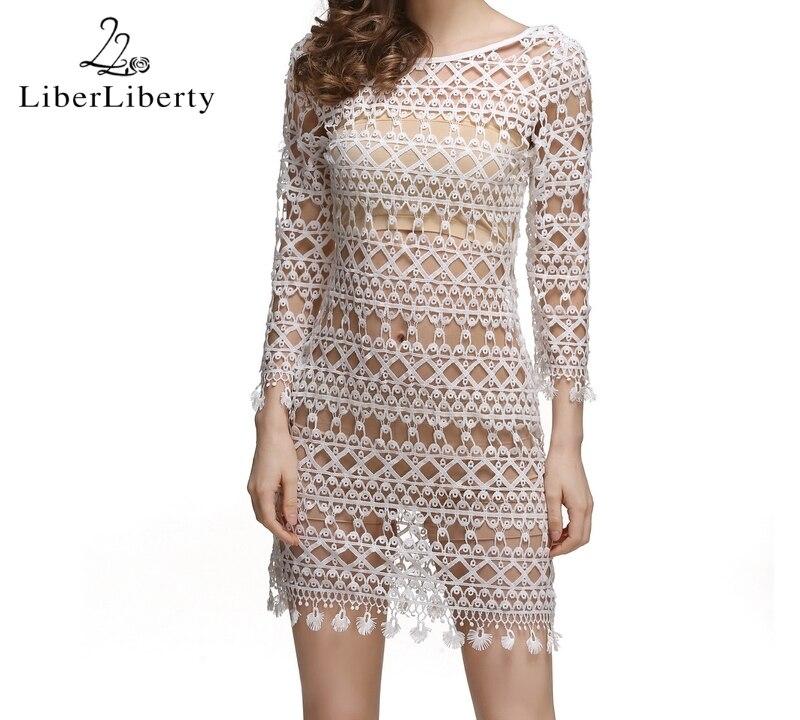 17 Beach Crochet Cover Up for Women Floral Hollow Lace Bikini Cover-Ups Swimwear Women Beach Dress Bathing Suit Cover Ups 22