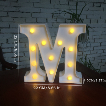 DIY White LED Letter Night Lamp Creative English Alphabet Number Battery Lamp Romantic Wedding Party Christmas Home Wall Decor 1