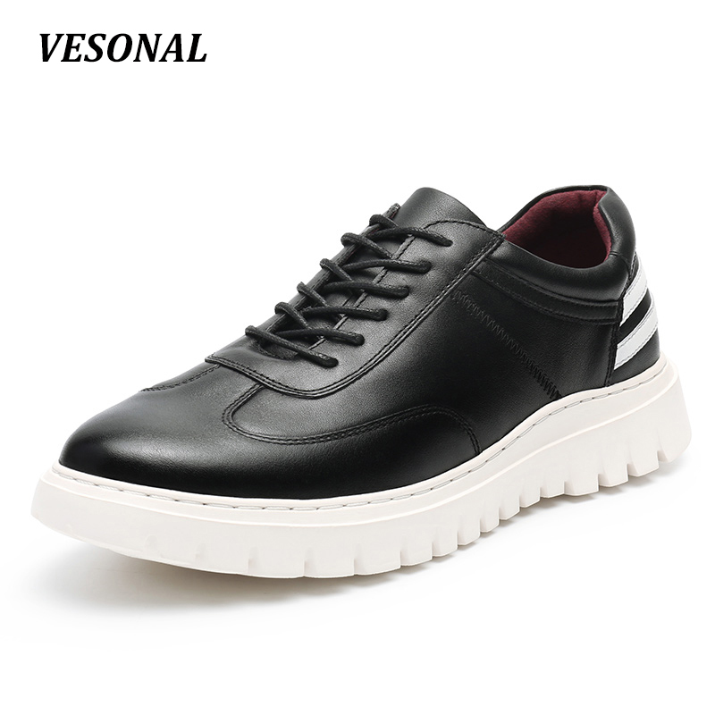 VESONAL New 2017 Brand 100% Luxury Genuine Leather Men Shoes Fashion Stripe Platform Mens Shoes Casual Derby Designer SD6139