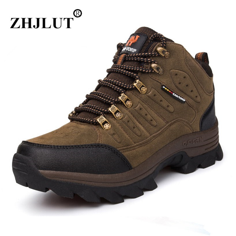 2017 Men Hiking Shoes Winter High-top Trekking Boots Man Genuine Leather Waterproof Sneakers Breathable Warm Outdoor Boots Women outdoor sport women high top running shoes genuine leather running boots sneakers women plus big size