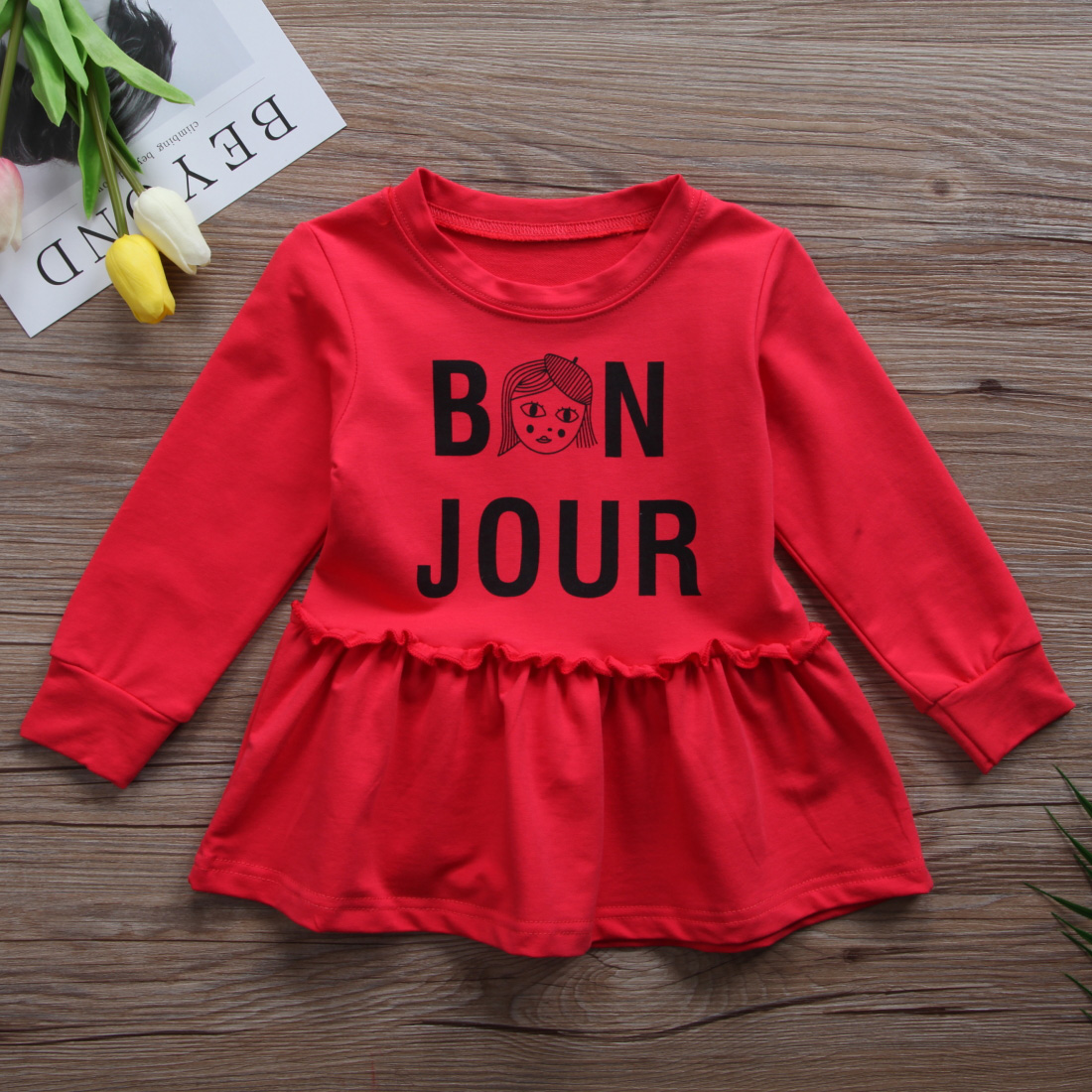 Cute Kids Girl Letters Print Dresses Autumn Long Sleeve Cotton Princess Party Dress Ruffles Girls Dress Clothes Pink red girls dress sweet red long sleeve princess dress high quality cotton party dresses cute kids clothes for girl children clothing