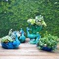 Красивый цветочный горшок с павлином из смолы  суккулент  Бонсай цветочных растений  горшок для растений