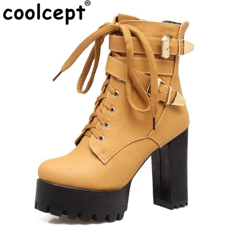 Coolcept Size 33-44 Ladies High Heel Boots Women Platform Round Toe Metal Buckle Thick Heels Boot Warm Winter Female Bota Mujer