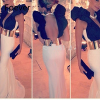 Backless Long Mermaid Ivoy Black Very Deep V Neck Gold Metal Belt Haute Couture Open Back Sexy Spandex Evening Dress