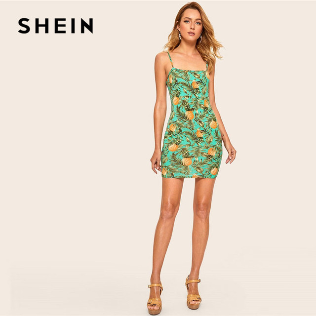 SHEIN Allover Pineapple Tropical Print Cami Dress Multicolor Sleeveless Sheath Mini Dresses Women Summer Vacation Beach Dress 4