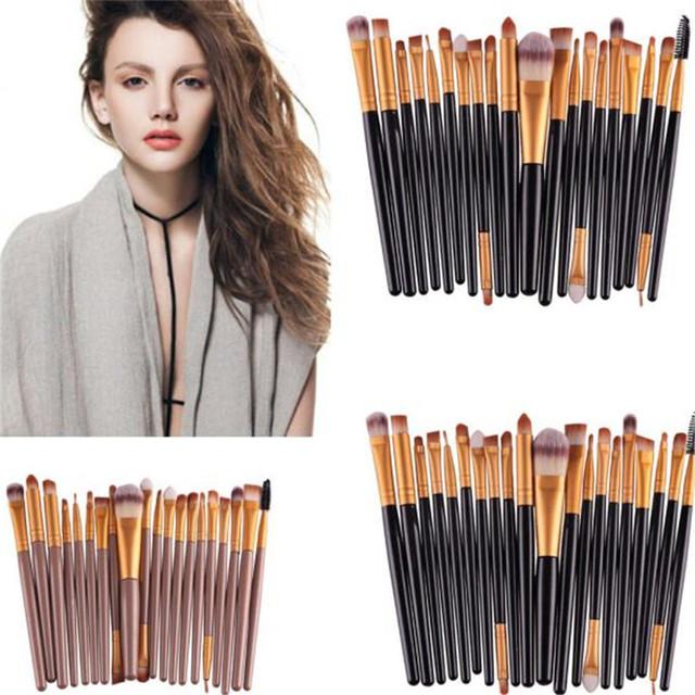 GUJHUI 20Pcs Rose gold Makeup Brushes Set Pro Powder Blush Foundation Eyeshadow Eyeliner Lip Cosmetic   Make up Brush Tool