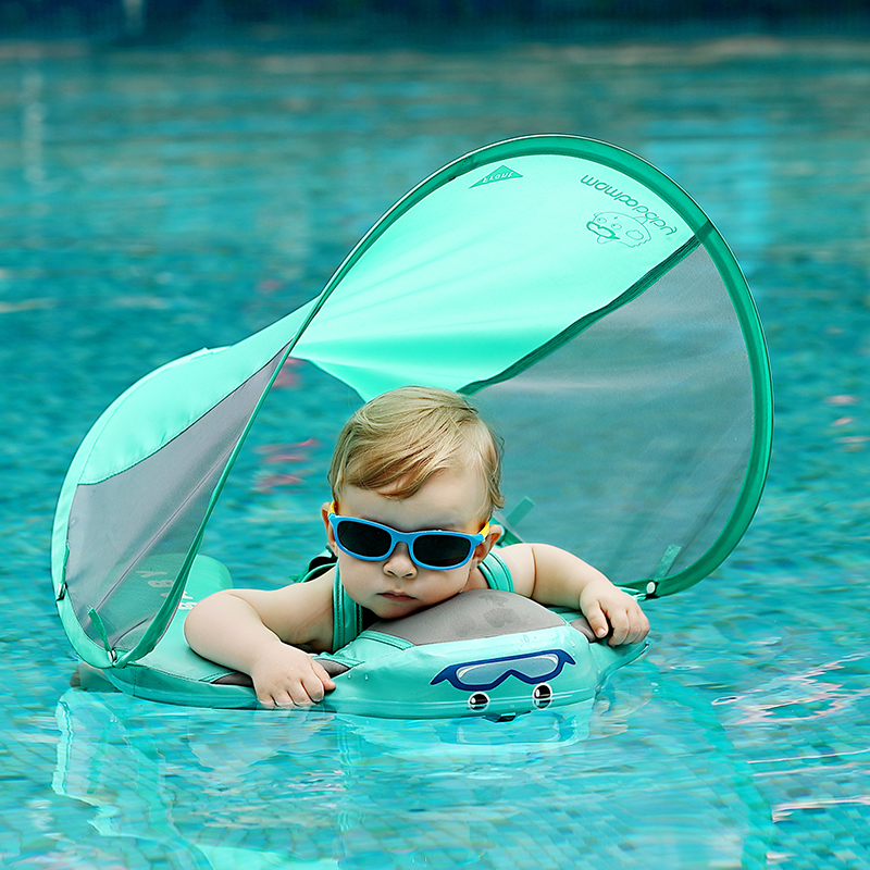 Baby Solid Float Ring Infant Toddler Safety Aquatics Swim Floating For Swimming Pool Swim Trainer With Canopy UV Protection