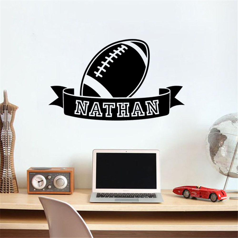 Personalised Name American Football Ball Sign Wall Stickers Boy Sport Decal Bedroom Kids Room Waterproof Vinyl Removable Decor