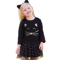 Girl Dress Christmas Autumn Cartoon Cat Kids Party Dress For Baby Girls Clothes Fashion Lace Polka