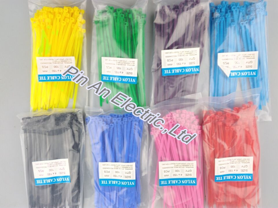 Self locking nylon cable tie plastic band tie band color nylon tie 4*150 mm self tie waist batwing sleeve dress