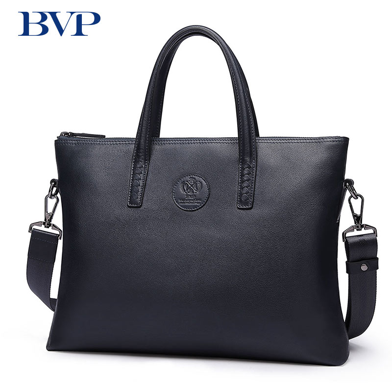 BVP Men Briefcase Genuine Leather Bag Handbag Business Shoulder Messenger Bags Top Quality Real Leather Male Crossbody Bag J50