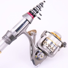 Discount! Fishing Combo Rod & Reel 1.3-2.4M Carbon Untra Short Telescopic Fishing Rod with 9+1BB Spinning Fishing Reel Set