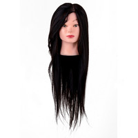 1pc Black Hair Salon Mannequin Head Professional Hairdressing Training Model Head Practice 65% Human Hair 22 Inch