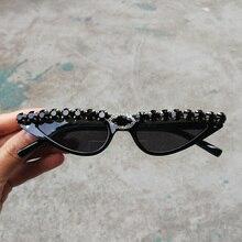 Rhinestone Vintage Goggles Cat Eye Retro Sunglasses Small Fashion Rivet Glasses Crystal Bling Cateye Eyewear UV400