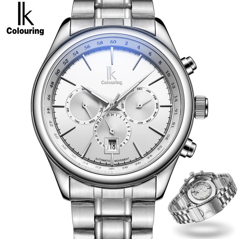 IK Brand Fashion Men Watches Silver Full Stainless Steel Automatic Self-Wind Watch Men Multi-Function Clock relogio masculino fashion 40mm pranis silver dial full stainless steel sapphire glass automaic self wind mechanical men s business watch