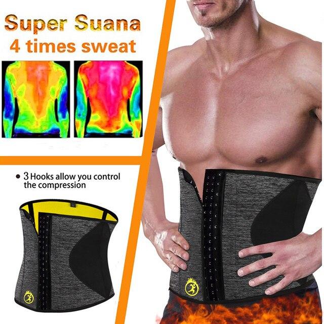 NINGMI Body Shaper Men Waist Trainer Modeling Belt Neoprene Sauna Tummy Trimmer Strap Corset Cincher Slimming Shapewear Brace 2