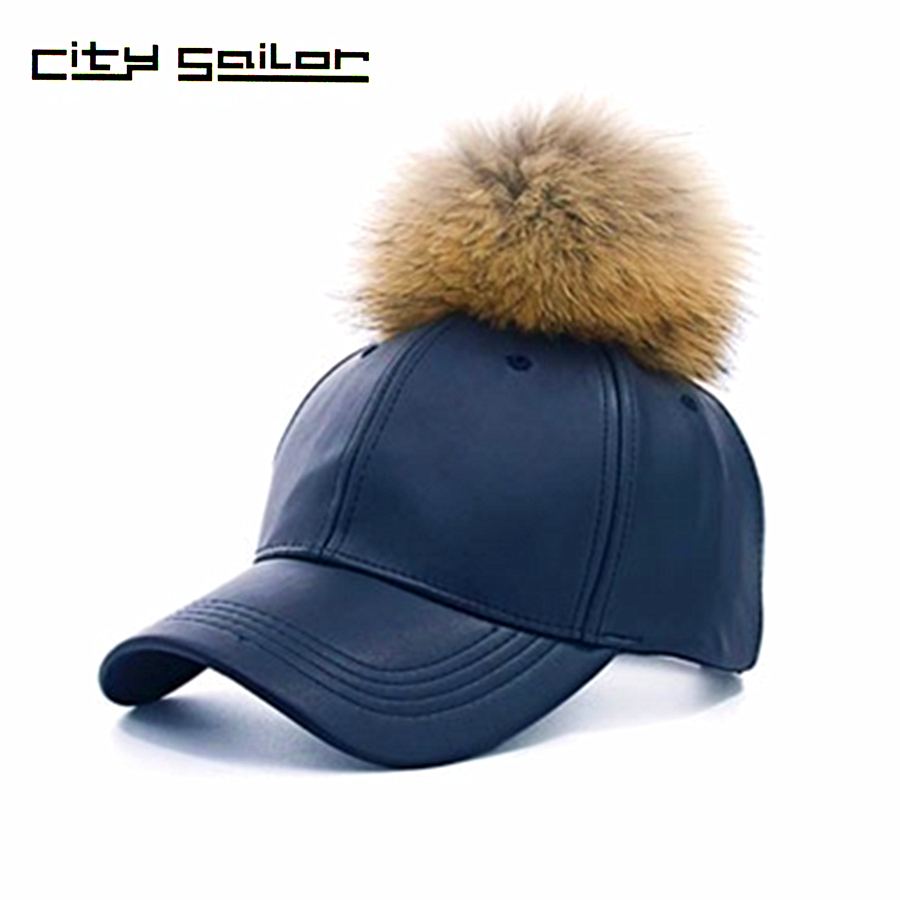 New Girls Cap Real Fur Pom Pom Cap For Women Spring Candy Color PU Baseball Cap With Real Fur Pom Poms Brand New Female Cap wool 2 pieces set kids winter hat scarves for girls boys pom poms beanies kids fur cap knitted hats