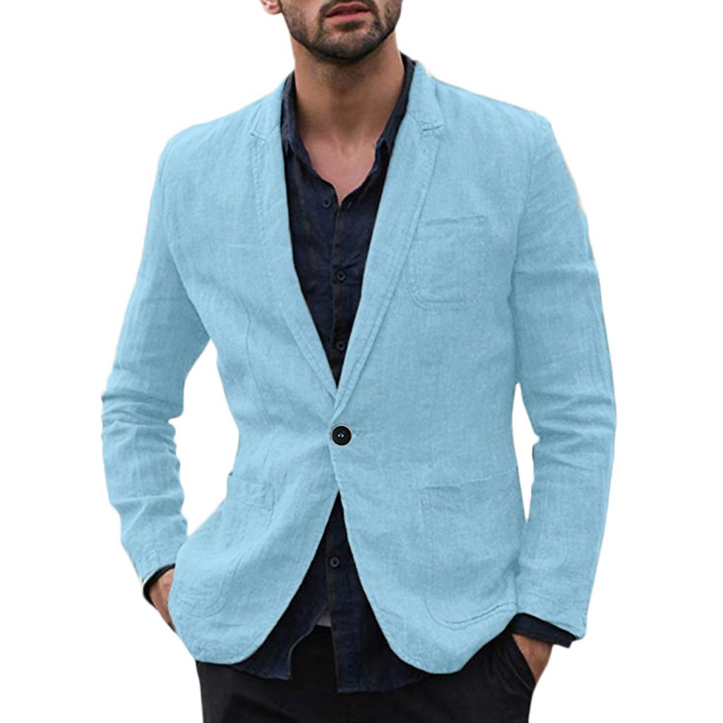 Men Blazer Masculino Sobretudo Masculino Blazers 2019 New Slim Fit Cotton Blend Solid Long Sleeve Thin Suits Polyester Coat Z4
