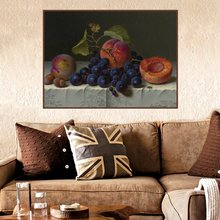 Grapes and Peaches Still Life Handpainted Posters Prints Canvas Painting for Living Room Wall Art Office Home Decor Wholesale