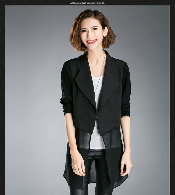 New 2016Autumn women black blazer long sleeve slim plus size cool outwear chiffon patchwork female casual blouse tops XL-5XL8028