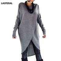 LASPERAL Women Brand Long Tee Tops Fashion Cross Irregular Long Sleeve Tshirt Pullover O Neck Cotton