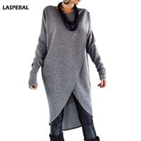 LASPERAL Women Brand Long Tee Tops Fashion Cross Irregular Long Sleeve Tshirt Pullover O Neck Cotton