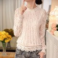 New 2016 Spring Women Long Sleeve Lace Floral Chiffon Blouses Summer Casual White Lace Blouse Shirts Tops Feminine Blusas