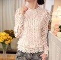 Nova 2016 mulheres Lace Floral manga comprida Chiffon Blusas verão ocasional blusa de renda camisas Blusas femininas