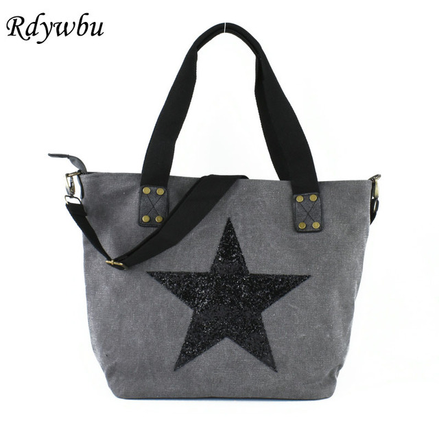 Rdywbu Star Glitter Sequined Canvas Shoulder Bag Uni Multifunctional Travel Tote Handbag Vintage Beach