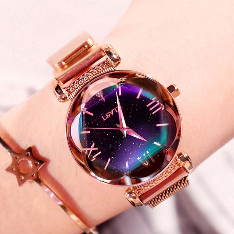 Luxury Rose Gold Women Watches Fashion Diamond Ladies Starry Sky Magnet Wrist Watch Waterproof Female Wristwatch Gift Clock 2019 часы модные женские 2019