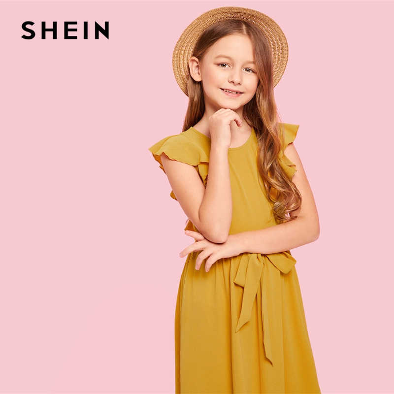 f91fc0f749 ... SHEIN Kiddie Ginger Zip Back Ruffle Hem Teenage Girl Party Maxi Dress  2019 Summer Sleeveless A ...