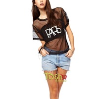 2015 Fashion Women T Shirt Clothing Short Sleeve Crop Top Lady Rock Paris Letter Print T