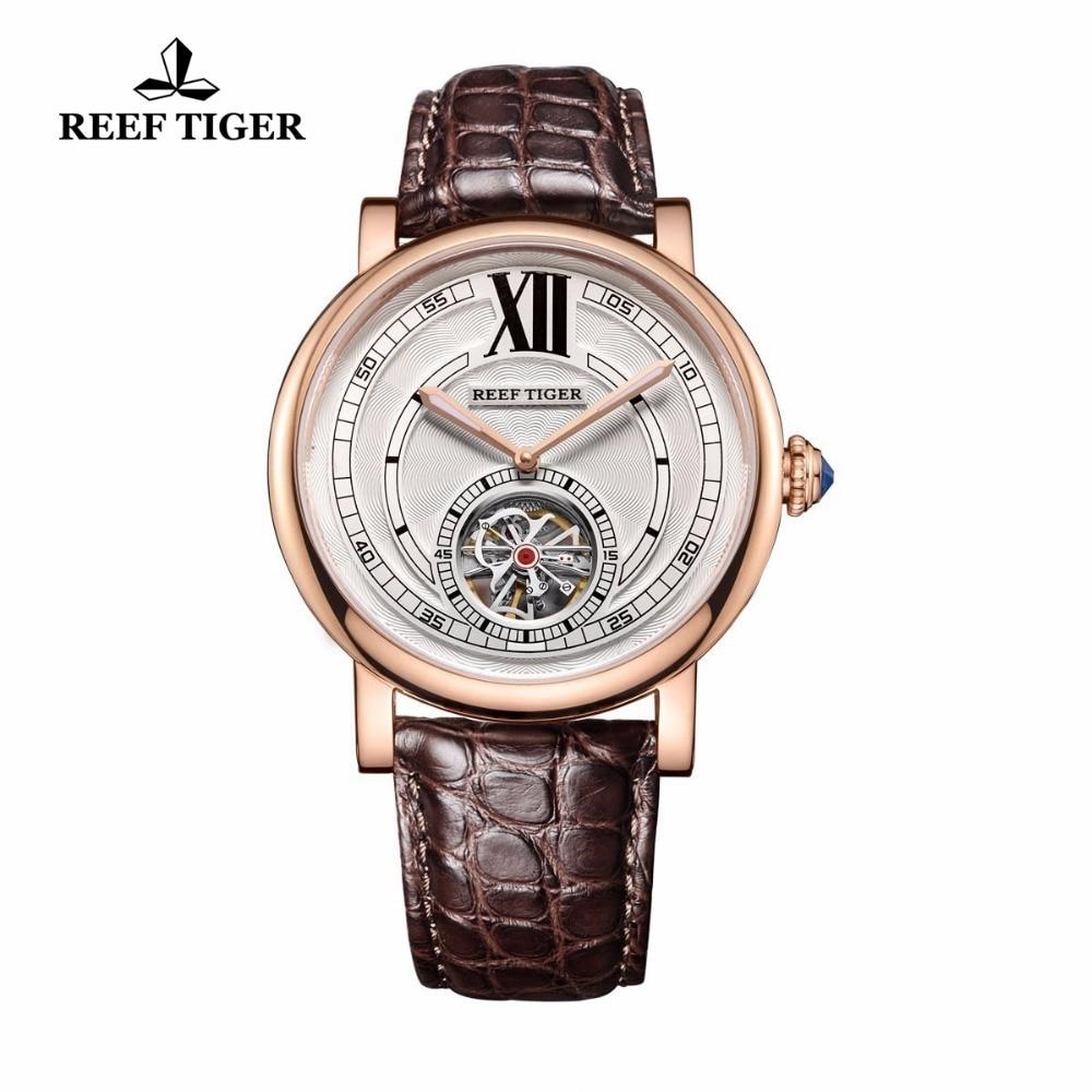 Hell Riff Tiger/rt Designer Beiläufige Uhr Für Männer Alligatorlederarmband Uhren Tourbillon Automatikuhr Mit Blauen Kristall Krone Rga192