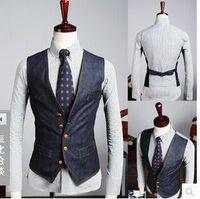 England Stil Mann Blue Denim Weste Männlichen jeans colete maskuline neue Ankunft Casual Business westen Slim Fit Männer Anzug Weste 011601