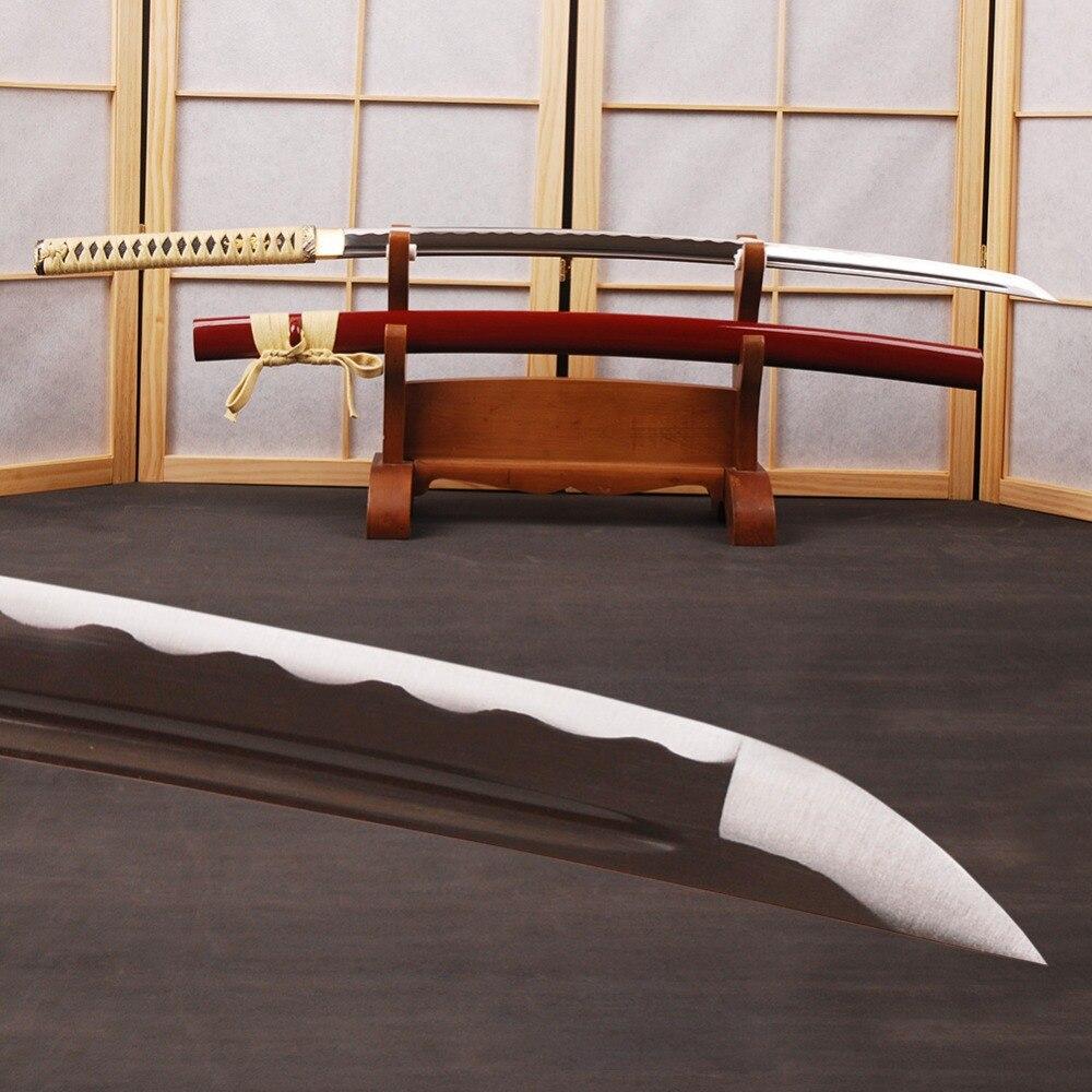 Mão Forjada Espada de Samurai Japonês Espada Katana 1060 Aço Carbono Completa Tang Afiados Podem Cortar Bambu Knfie Samurai Espada Cosplay