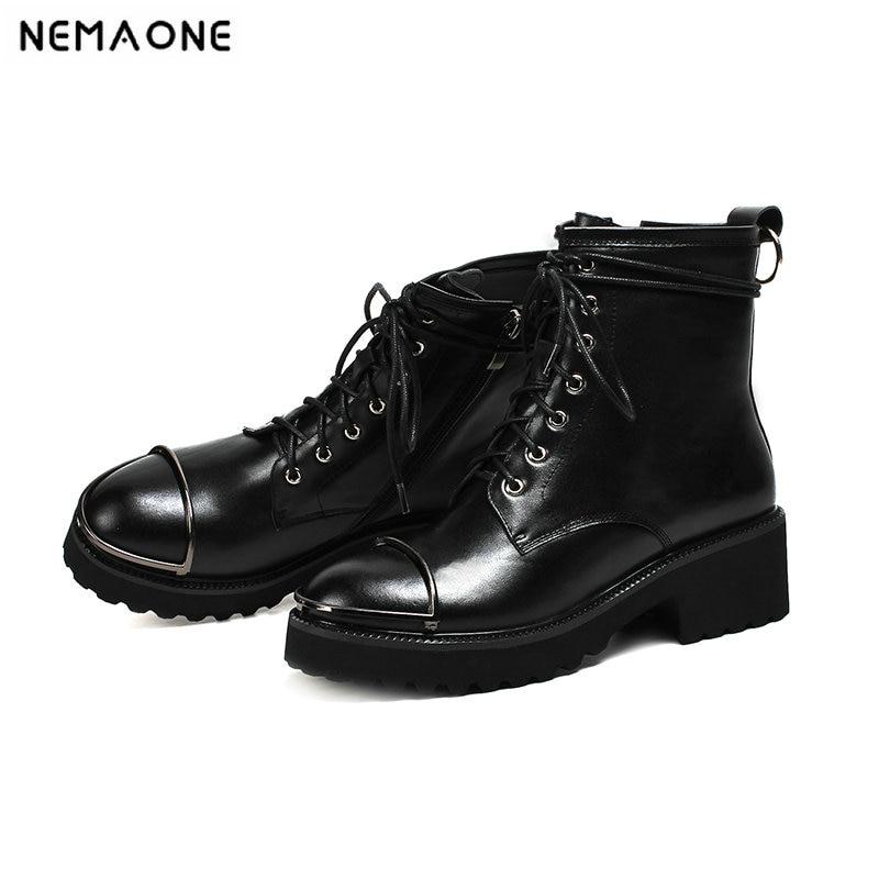 Leder Nemaone 2018 42 Qualität Frauen Neue Echtes Top Up 43 Plus Schwarzes weiß Schuhe Frau Größe Stiefeletten Styles Lace Motorrad Stiefel nIp1qI