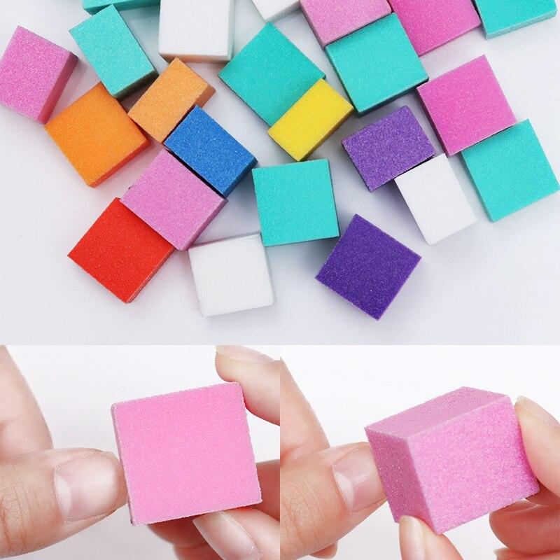 1 Bag Colorful Mini Irregular Nail Buffers Sanding Sponge Files Grinding Polishing Nail Art Tool Random Color khaki random floral print v neck irregular hem jumpsuit