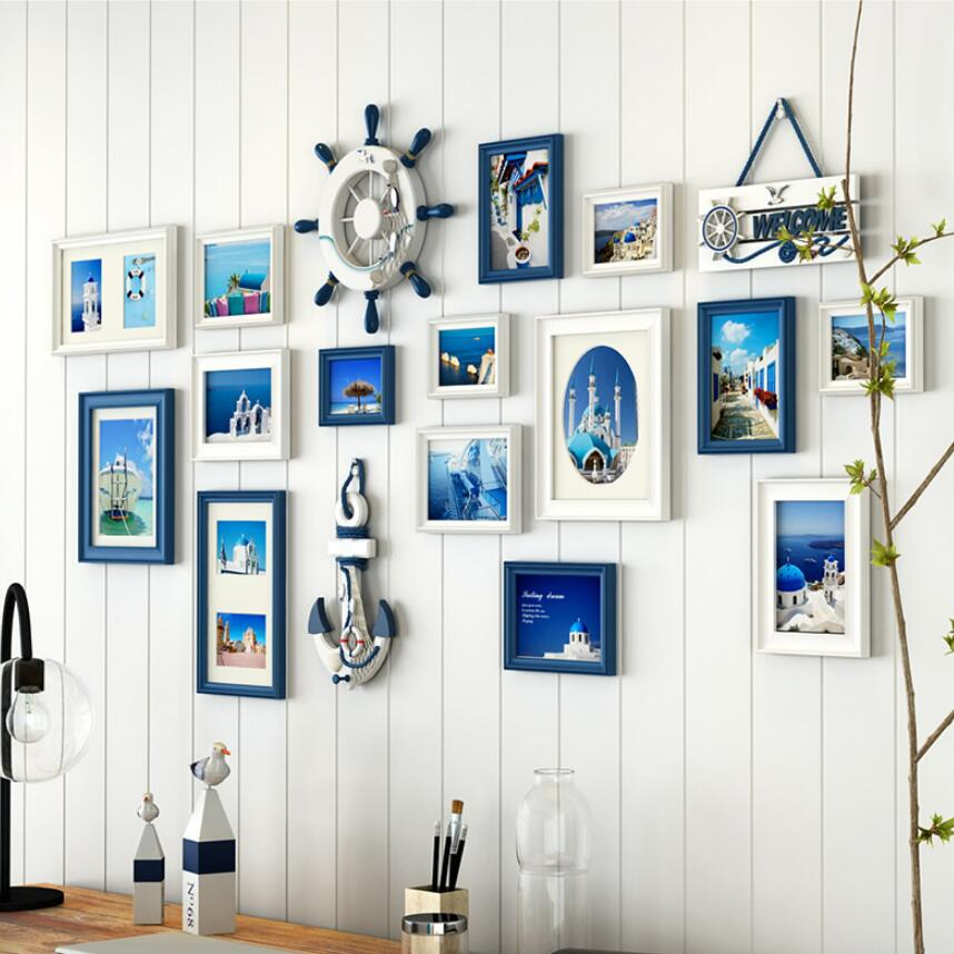 15 pcsset blue white black photo frame set for home wall decorationwooden