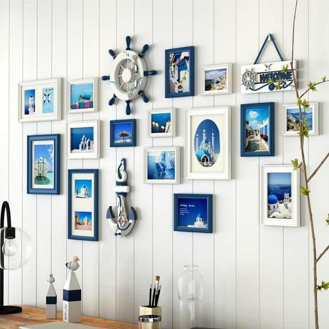 Online Shop 15 pcs/set Blue White Black Photo Frame Set for Home ...