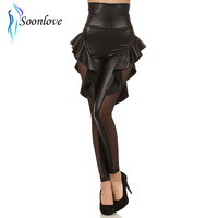 Sexy Banded Faux Leather PEPLUM Pants With Mesh Inset Fashion Leggings For Womans Manufacture