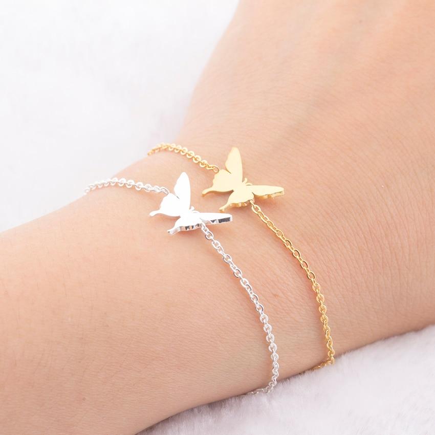 Изящные браслеты с подвесками бабочки лучшего друга Bff ювелирные изделия для женщин браслет подружки невесты из нержавеющей стали подарки ...