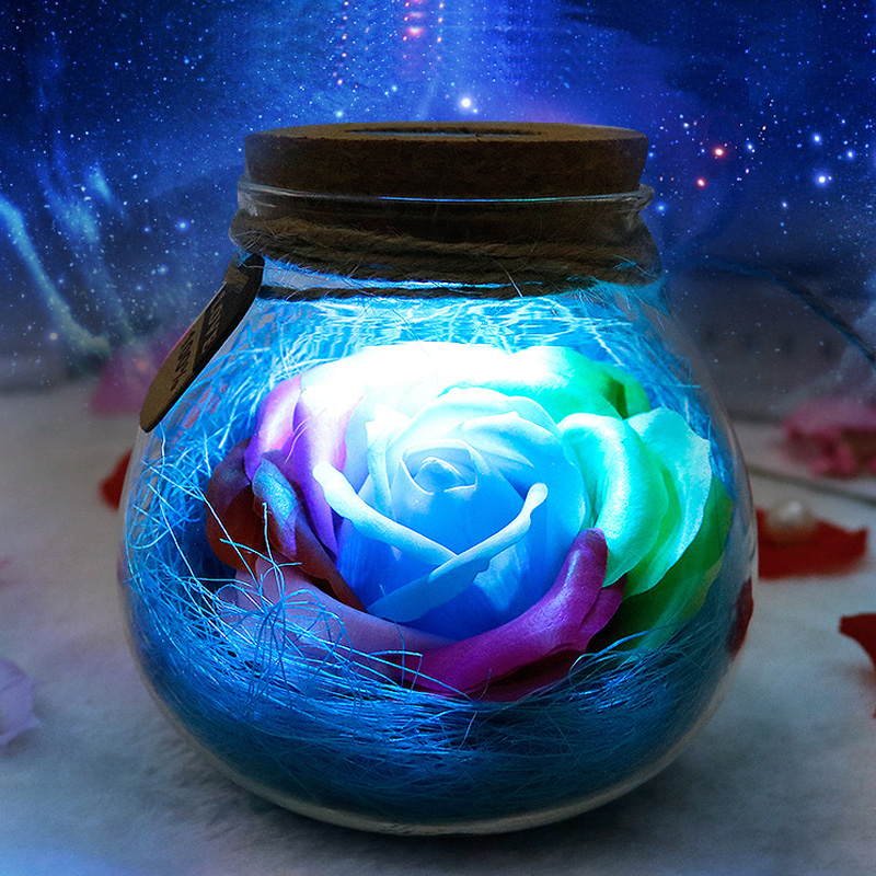 LED RGB Atmosphere Night Light Flower Bottle Creative Romantic Rose Flower Bulb Great Holiday Gift For Girl Remote Dimmer Lamp agm rgb led bulb lamp night light 3w 10w e27 luminaria dimmer 16 colors changeable 24 keys remote for home holiday decoration
