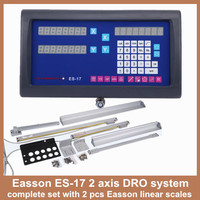 High Precision Easson ES 17 complete set 2 axis digital readout DRO lathe milling machine and digital linear slide