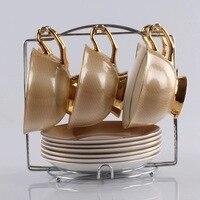 180 мл Винтажный Золотой костяного фарфора 13 шт набор кофейных чайных чашек с ложкой позолоченная Роскошная британская черная чайная чашка п